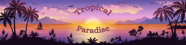 Tropical Sea Landscape with Palms and Ship Stock Photography