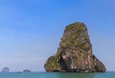 Tropical sea with limestone rock at railay beach  krabi Thailand Stock Image