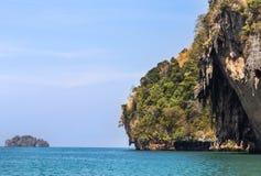 Tropical sea with limestone rock at railay beach  krabi Thailand Royalty Free Stock Image