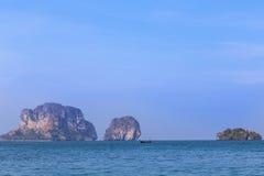 Tropical sea with limestone rock at railay beach  krabi Thailand Royalty Free Stock Photography