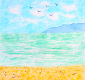 Tropical Sea or Ocean Summer Landscape. Watercolor Hand Drawn and Painted Stock Photo