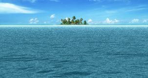 Tropical sea ocean waves movement in sunny day light on beach, with sea land island. In background stock video footage