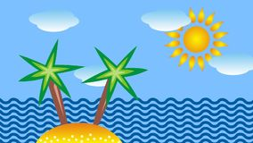 The tropical sea, palm trees and sun. Symbolic cartoon video.