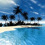 Tropical sea palms Royalty Free Stock Images