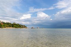 Tropical sea at Paradise island and stormy blue sky in Koh Samui, Thailand. Tropical sea at Paradise island and stormy blue sky in Koh Samui royalty free stock images