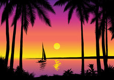 Tropical sea scene. Beautiful tropical scene with sailboat vector illustration