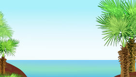Tropical sea shore with palm trees. Illustration 2D Stock Photo