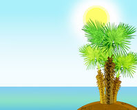 Tropical sea shore with palm trees. Illustration 2D Stock Photos