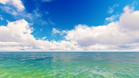 Tropical sea sky clouds blue 3D rendering Royalty Free Stock Photography