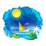Tropical sea with sun Royalty Free Stock Image