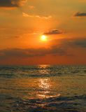 Tropical sea sunset and waves Stock Images