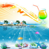 Tropical sea theme background with cocktail and text area Stock Image