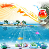 Tropical sea theme background with cocktail and text area Royalty Free Stock Images