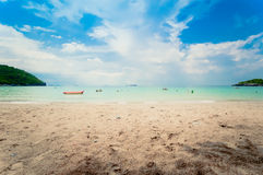 Tropical sea under the blue sky. In clear the air Royalty Free Stock Image