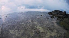 Tropical sea unser gloomy sky. stock video footage