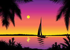 Tropical sea view. Tropical sea scene – vector illustration royalty free illustration