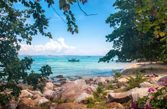 Tropic sea view. Tropical sea view, Thailand phuket shore line, sand royalty free stock photo