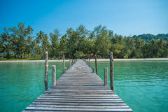Tropical sea and wooden pier, holiday background Royalty Free Stock Photography