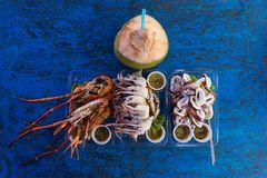Tropical seafood on table Stock Images