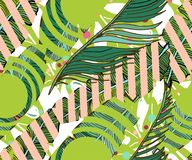 Tropical seamless background. Hand drawn  cute pattern wit. H banana leaves, exotic flowers, tropical plants,  geometric elements Royalty Free Stock Photography