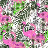 Tropical seamless background. Hand drawn  pattern with pal Royalty Free Stock Photo
