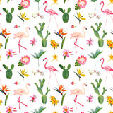 Tropical Seamless Floral Summer Pattern. For Wallpapers, Backgrounds, Textures, Textile, Cards. Stock Photo