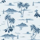Tropical seamless island pattern monotone in blue background. Royalty Free Stock Photos