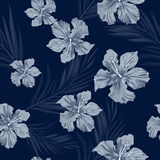 Tropical seamless monochrome blue indigo camouflage background with leaves and flowers Royalty Free Stock Photos