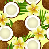 Tropical seamless pattern with coconut, flowers Stock Photo