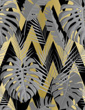 Tropical seamless pattern with exotic palm leaves. stock illustration