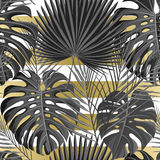 Tropical seamless pattern with exotic palm leaves. Royalty Free Stock Images
