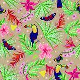 Tropical seamless pattern with flowers, butterflies, birds. Vector jangle foliage for print, fabric, scarf.  royalty free stock image