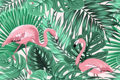 Tropical seamless pattern green leaves flamingos. Tropical seamless pattern texture with exotic green palm jungle tree monstera leaves and pink flamingo birds Royalty Free Stock Images