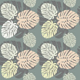 Tropical seamless pattern with leaves Royalty Free Stock Image