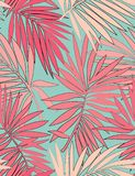 Tropical seamless pattern with leaves. Beautiful tropical isolated leaves. Fashionable summer background with leaves for Tropical seamless pattern. Palm tree stock illustration