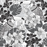 Tropical seamless pattern. Monochrome  background. Stock Photo