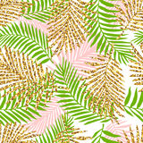 Tropical seamless pattern with monstera leaves and golden glitter texture. Royalty Free Stock Photography