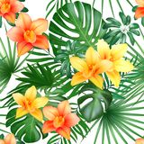 Tropical seamless pattern with palm leaves and flowers. Vector illustration. vector illustration