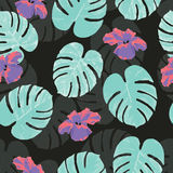 Tropical seamless pattern with palm monstera leaves and flowers Stock Photos