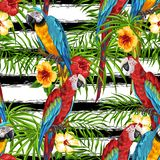 Tropical seamless pattern with parrots. Palm leaves, hibiscus flowers and exotic birds stock illustration