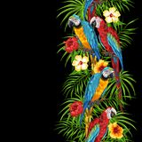 Tropical seamless pattern with parrots. Palm leaves, hibiscus flowers and exotic birds royalty free illustration
