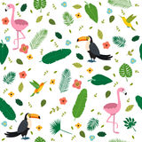 Tropical seamless pattern with pink flamingos, toucans Stock Images