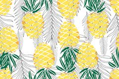 Tropical seamless pattern. Ripe juice fruits. Hand drawn. Background vector illustration