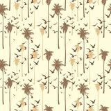 Tropical seamless pattern with silhouettes of palm trees and birds in vintage style Royalty Free Stock Image