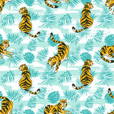 Tropical seamless pattern with tigers and palm leaves. Vector animalistic design. Royalty Free Stock Images