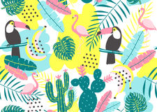 Tropical seamless pattern with toucan, flamingos, cactuses and exotic leaves. Royalty Free Stock Image