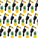 Tropical seamless pattern with toucans and pineapples. Royalty Free Stock Image
