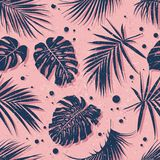 Tropical seamless pattern. Trendy tropical leaves design. Botanical vector illustration Stock Photos