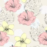 Tropical seamless pattern. Tropical seamless vector pattern with leaves and flowers Stock Photos
