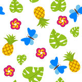 Tropical seamless pattern on white background with pineapples vector. Tropical seamless pattern on white background with pineapple vector stock illustration